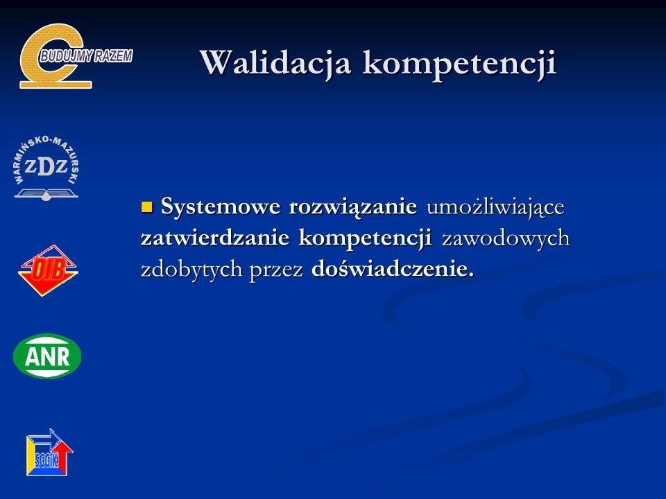 Walidacja kompetencji Systemowe rozwiązanie umożliwiające zatwierdzanie kompetencji zawodowych zdobytych przez doświadczenie.
