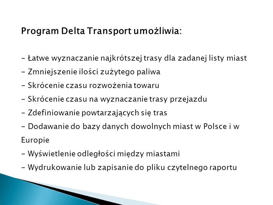 Program Delta Transport umożliwia: - Łatwe wyznaczanie najkrótszej trasy dla zadanej listy miast - Zmniejszenie ilości zużytego paliwa - Skrócenie cza