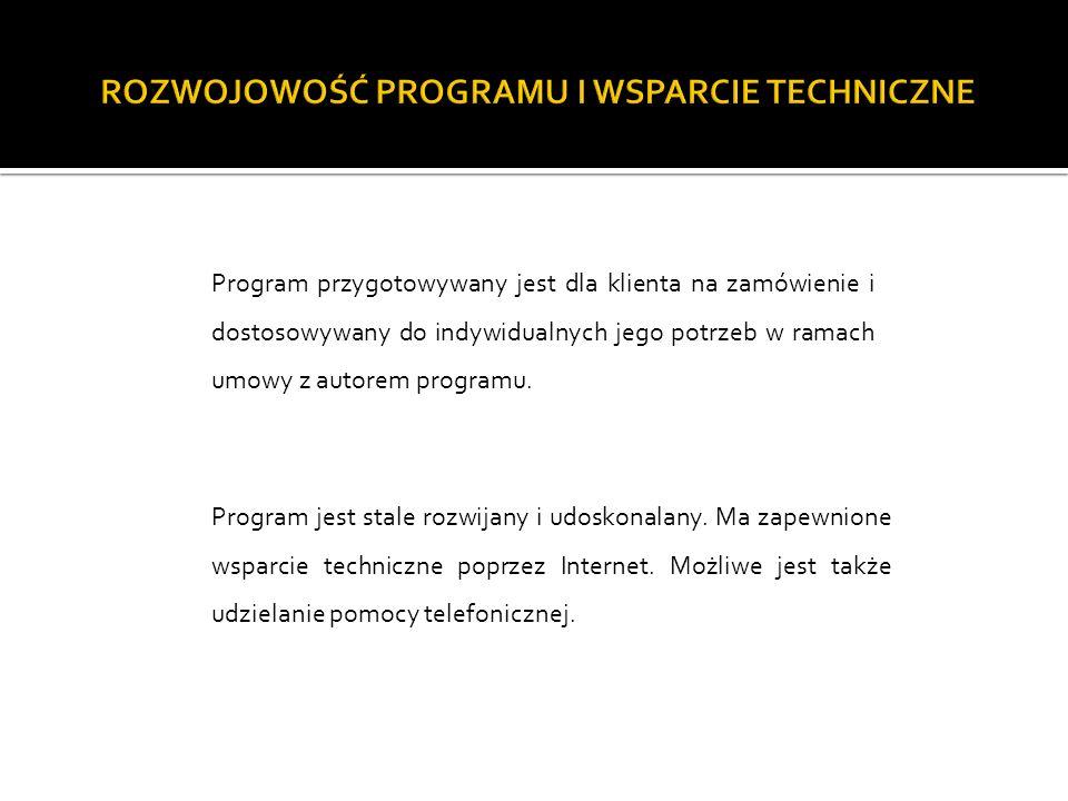 Program jest stale rozwijany i udoskonalany. Ma zapewnione wsparcie techniczne poprzez Internet.