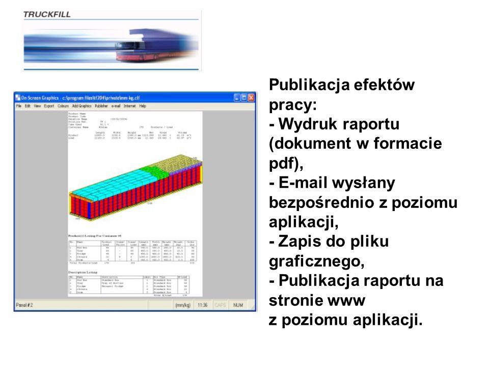 Publikacja efektów pracy: - Wydruk raportu (dokument w formacie pdf), - E-mail wysłany bezpośrednio z poziomu aplikacji, - Zapis do pliku graficznego,