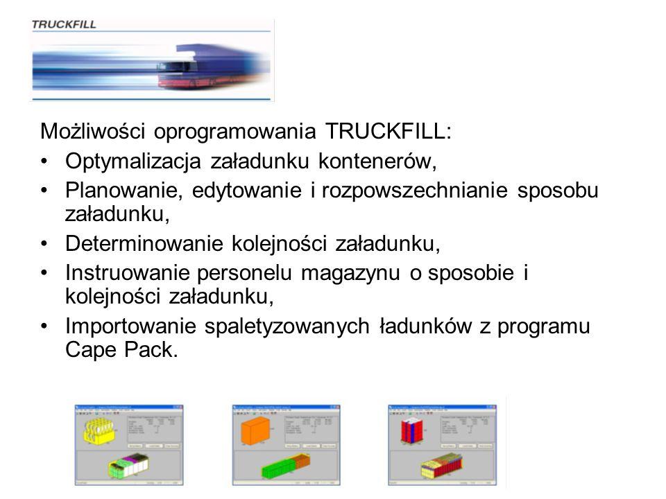 Możliwości oprogramowania TRUCKFILL: Optymalizacja załadunku kontenerów, Planowanie, edytowanie i rozpowszechnianie sposobu załadunku, Determinowanie