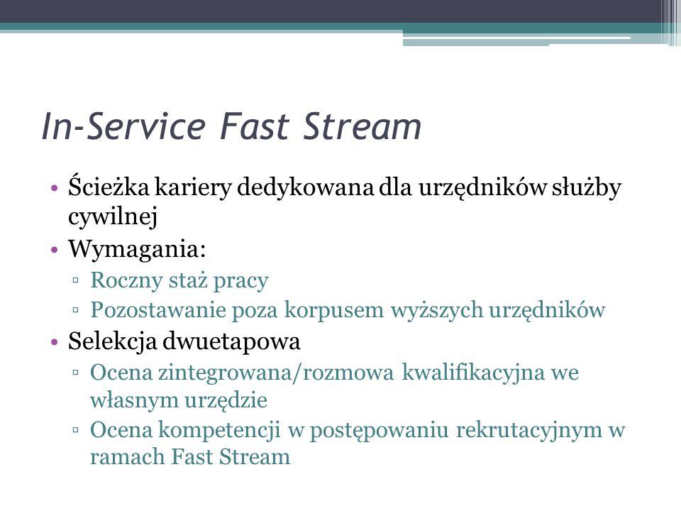 In-Service Fast Stream Ścieżka kariery dedykowana dla urzędników służby cywilnej Wymagania: Roczny staż pracy Pozostawanie poza korpusem wyższych urzę