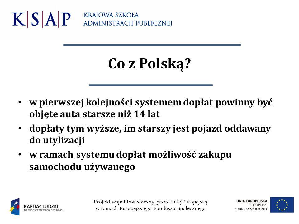 Co z Polską? w pierwszej kolejności systemem dopłat powinny być objęte auta starsze niż 14 lat dopłaty tym wyższe, im starszy jest pojazd oddawany do