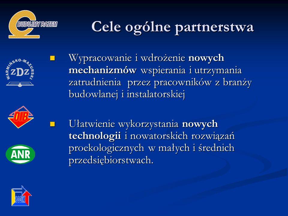 Cele ogólne partnerstwa Wypracowanie i wdrożenie nowych mechanizmów wspierania i utrzymania zatrudnienia przez pracowników z branży budowlanej i insta