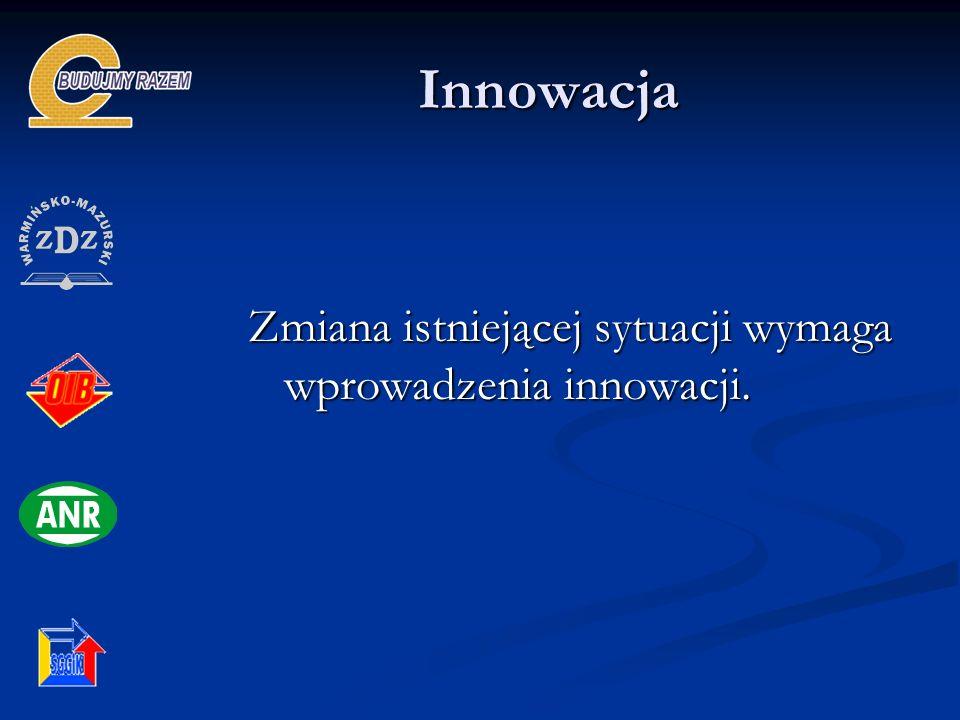 Innowacja Innowacja Zmiana istniejącej sytuacji wymaga wprowadzenia innowacji.