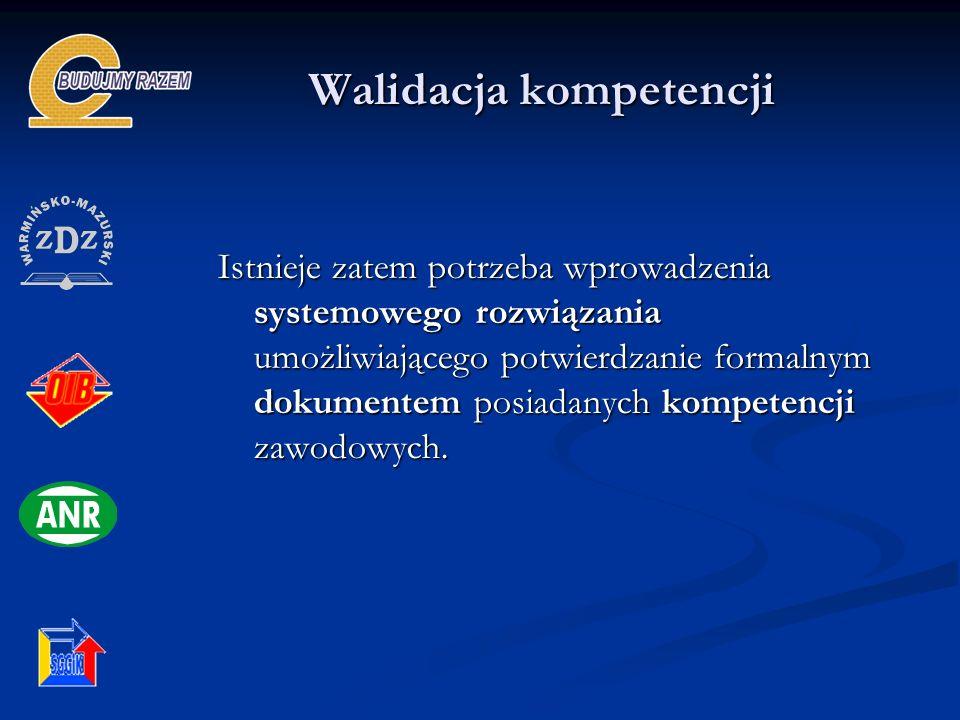 Walidacja kompetencji Istnieje zatem potrzeba wprowadzenia systemowego rozwiązania umożliwiającego potwierdzanie formalnym dokumentem posiadanych komp