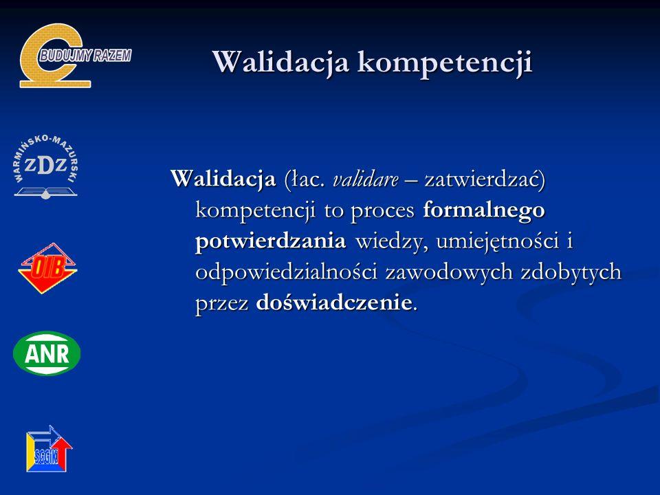 Walidacja kompetencji Walidacja (łac. validare – zatwierdzać) kompetencji to proces formalnego potwierdzania wiedzy, umiejętności i odpowiedzialności
