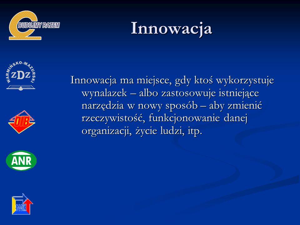 Innowacja Innowacja Innowacja ma miejsce, gdy ktoś wykorzystuje wynalazek – albo zastosowuje istniejące narzędzia w nowy sposób – aby zmienić rzeczywi