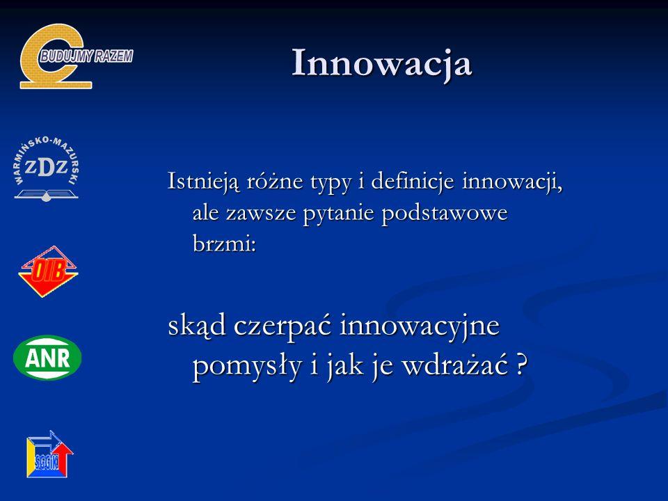 Innowacja Innowacja Istnieją różne typy i definicje innowacji, ale zawsze pytanie podstawowe brzmi: skąd czerpać innowacyjne pomysły i jak je wdrażać