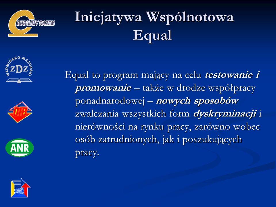 Inicjatywa Wspólnotowa Equal Inicjatywa Wspólnotowa Equal Equal to program mający na celu testowanie i promowanie – także w drodze współpracy ponadnar
