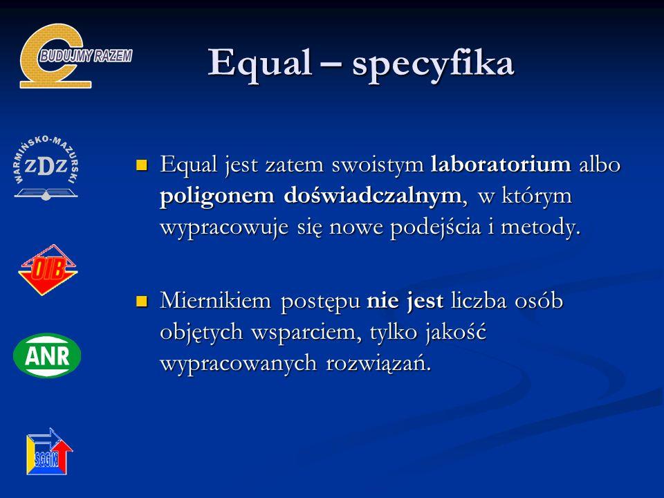 Equal – specyfika Equal jest zatem swoistym laboratorium albo poligonem doświadczalnym, w którym wypracowuje się nowe podejścia i metody. Equal jest z