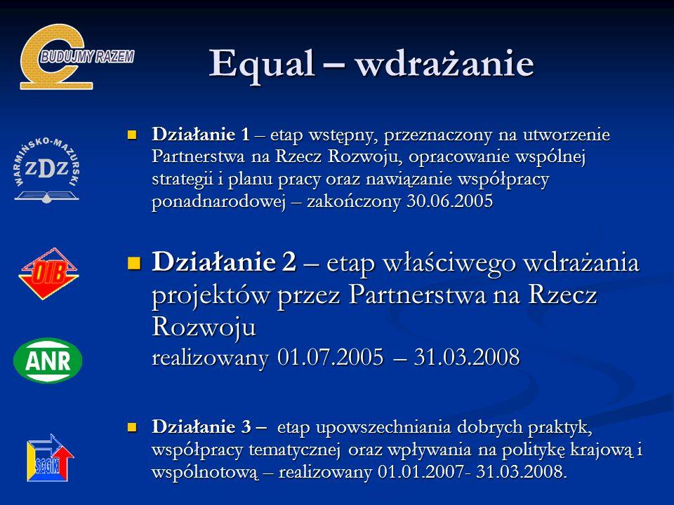 Equal – wdrażanie Działanie 1 – etap wstępny, przeznaczony na utworzenie Partnerstwa na Rzecz Rozwoju, opracowanie wspólnej strategii i planu pracy or
