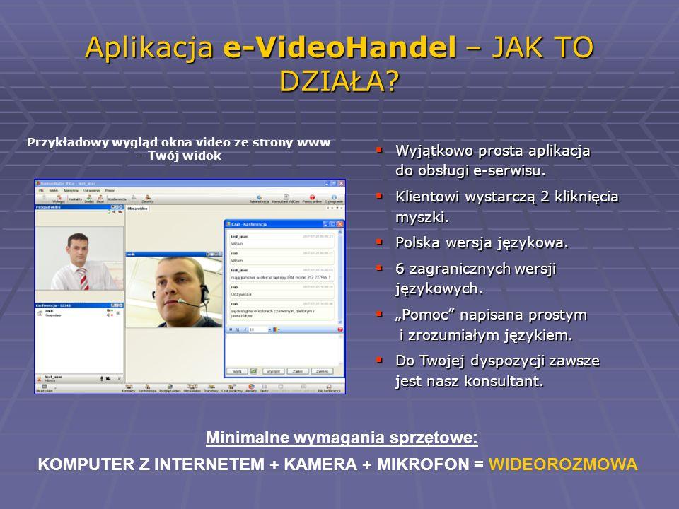 Aplikacja e-VideoHandel – JAK TO DZIAŁA? Przykładowy wygląd okna video ze strony www – Twój widok Minimalne wymagania sprzętowe: KOMPUTER Z INTERNETEM