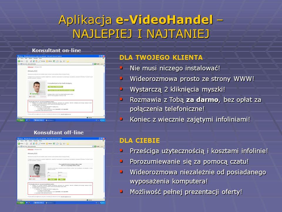 Aplikacja e-VideoHandel – NAJLEPIEJ I NAJTANIEJ Konsultant on-line Konsultant off-line DLA TWOJEGO KLIENTA Nie musi niczego instalować! Nie musi nicze