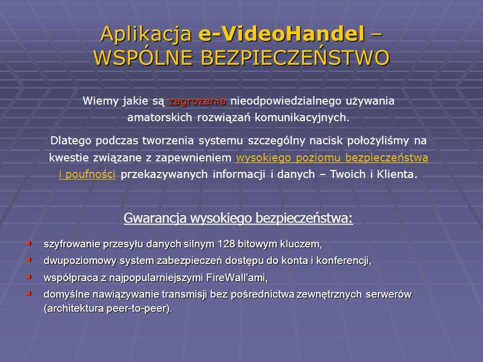 Aplikacja e-VideoHandel – WSPÓLNE BEZPIECZEŃSTWO zagrożenia Wiemy jakie są zagrożenia nieodpowiedzialnego używania amatorskich rozwiązań komunikacyjny