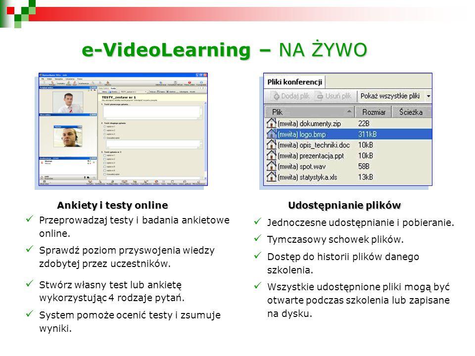 e-VideoLearning – NA ŻYWO Ankiety i testy online Ankiety i testy online Przeprowadzaj testy i badania ankietowe online.