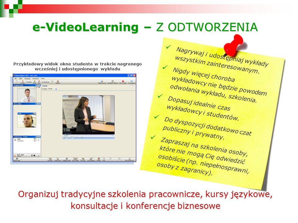 Przykładowy widok okna studenta w trakcie nagranego wcześniej i udostępnionego wykładu Nagrywaj i udostępniaj wykłady wszystkim zainteresowanym.