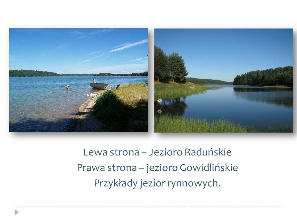 Lewa strona – Jezioro Raduńskie Prawa strona – jezioro Gowidlińskie Przykłady jezior rynnowych.
