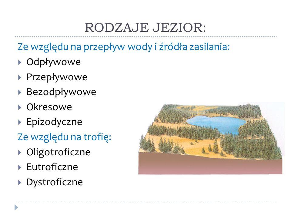 RODZAJE JEZIOR: Ze względu na przepływ wody i źródła zasilania: Odpływowe Przepływowe Bezodpływowe Okresowe Epizodyczne Ze względu na trofię: Oligotro