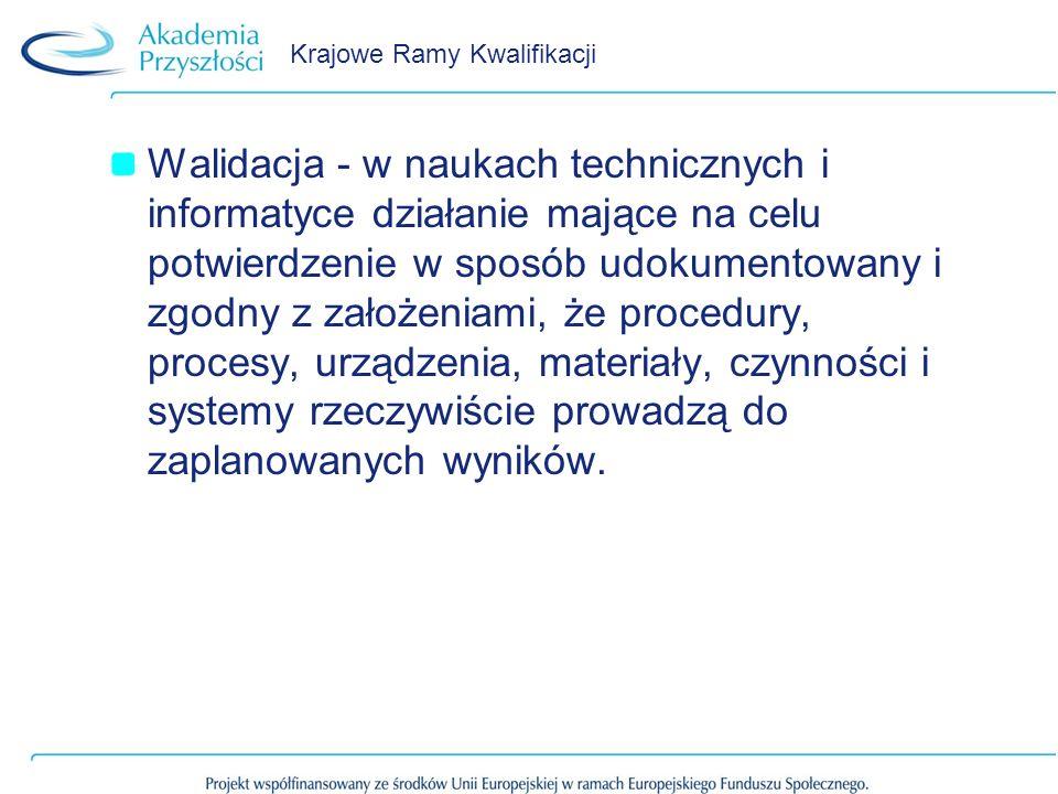 Krajowe Ramy Kwalifikacji Walidacja - w naukach technicznych i informatyce działanie mające na celu potwierdzenie w sposób udokumentowany i zgodny z z
