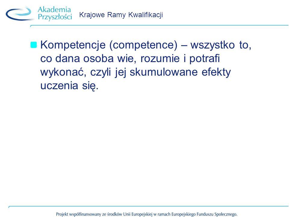 Krajowe Ramy Kwalifikacji Kompetencje (competence) – wszystko to, co dana osoba wie, rozumie i potrafi wykonać, czyli jej skumulowane efekty uczenia s
