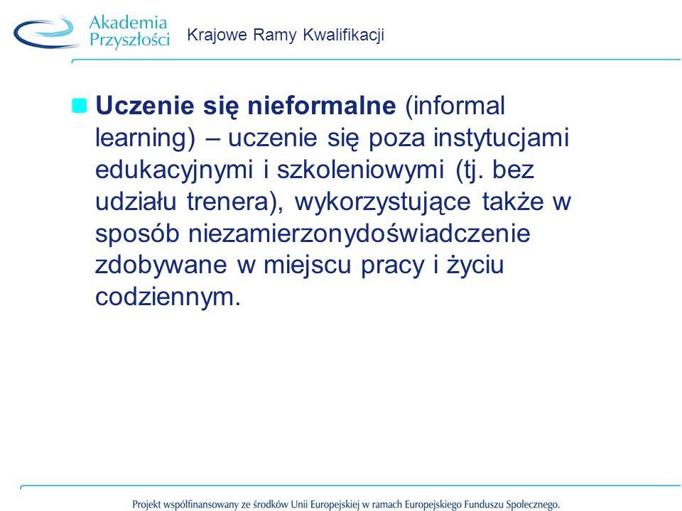 Krajowe Ramy Kwalifikacji Uczenie się nieformalne (informal learning) – uczenie się poza instytucjami edukacyjnymi i szkoleniowymi (tj. bez udziału tr