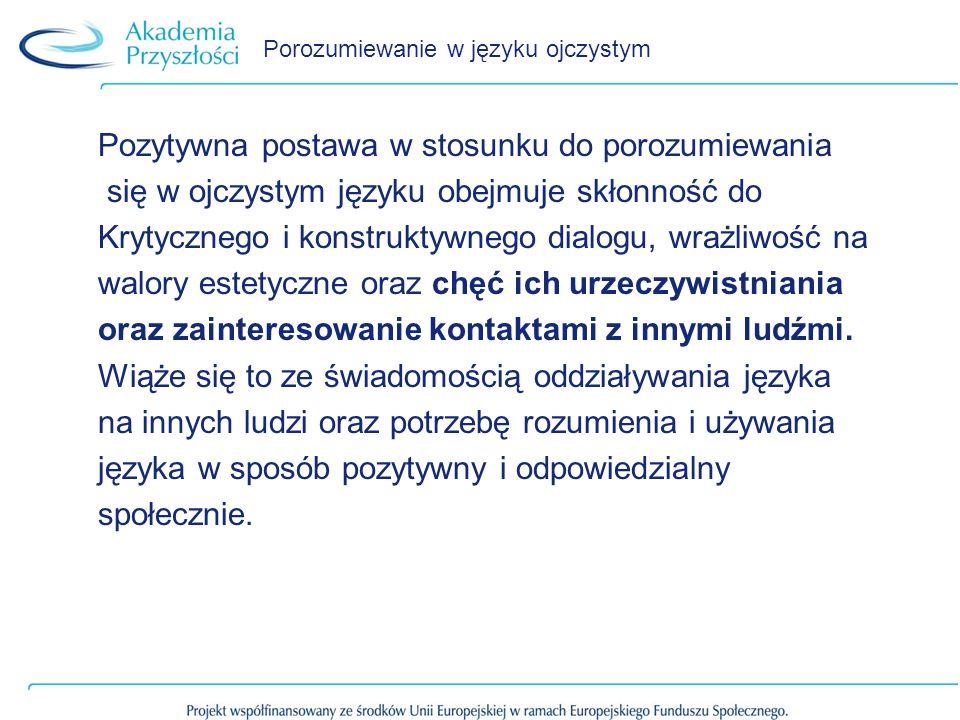 Porozumiewanie w języku ojczystym Pozytywna postawa w stosunku do porozumiewania się w ojczystym języku obejmuje skłonność do Krytycznego i konstrukty