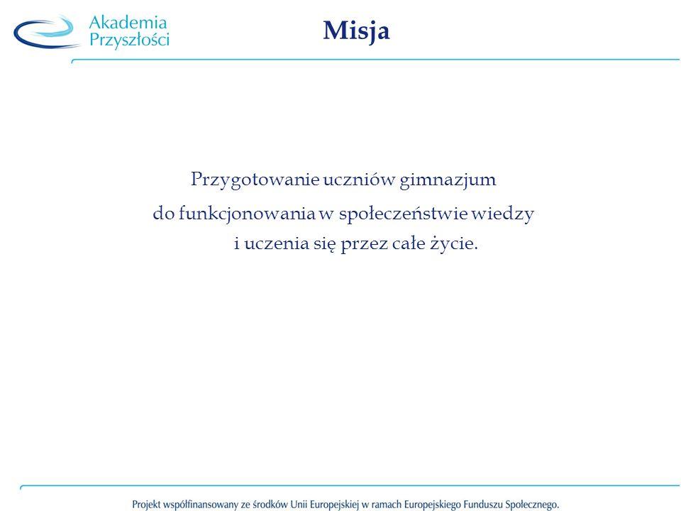 Misja Przygotowanie uczniów gimnazjum do funkcjonowania w społeczeństwie wiedzy i uczenia się przez całe życie.