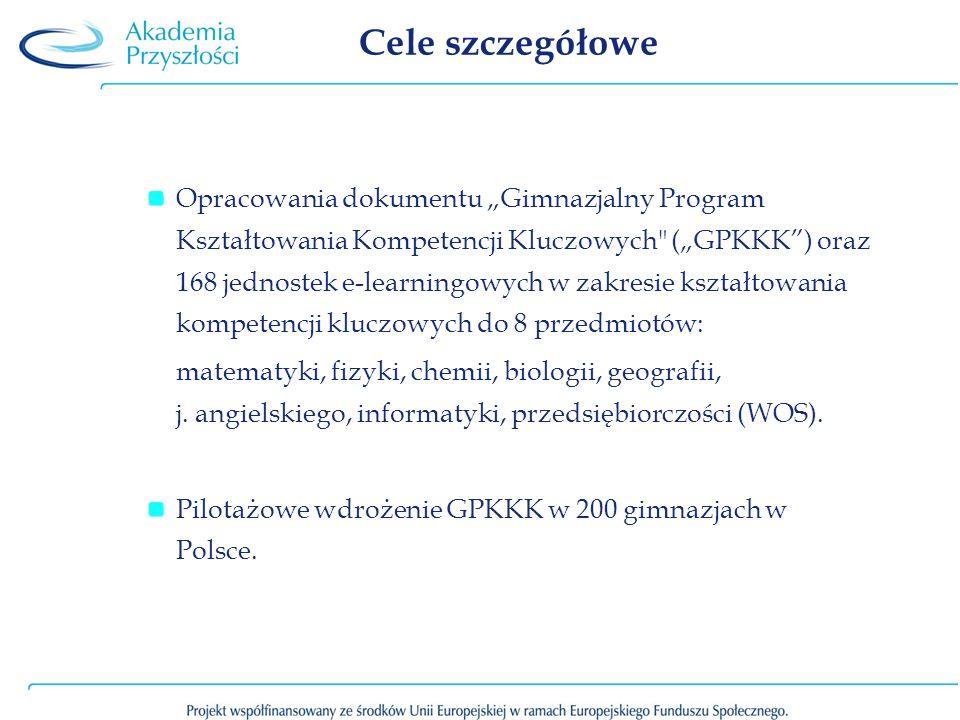 Cele szczegółowe Opracowania dokumentu Gimnazjalny Program Kształtowania Kompetencji Kluczowych
