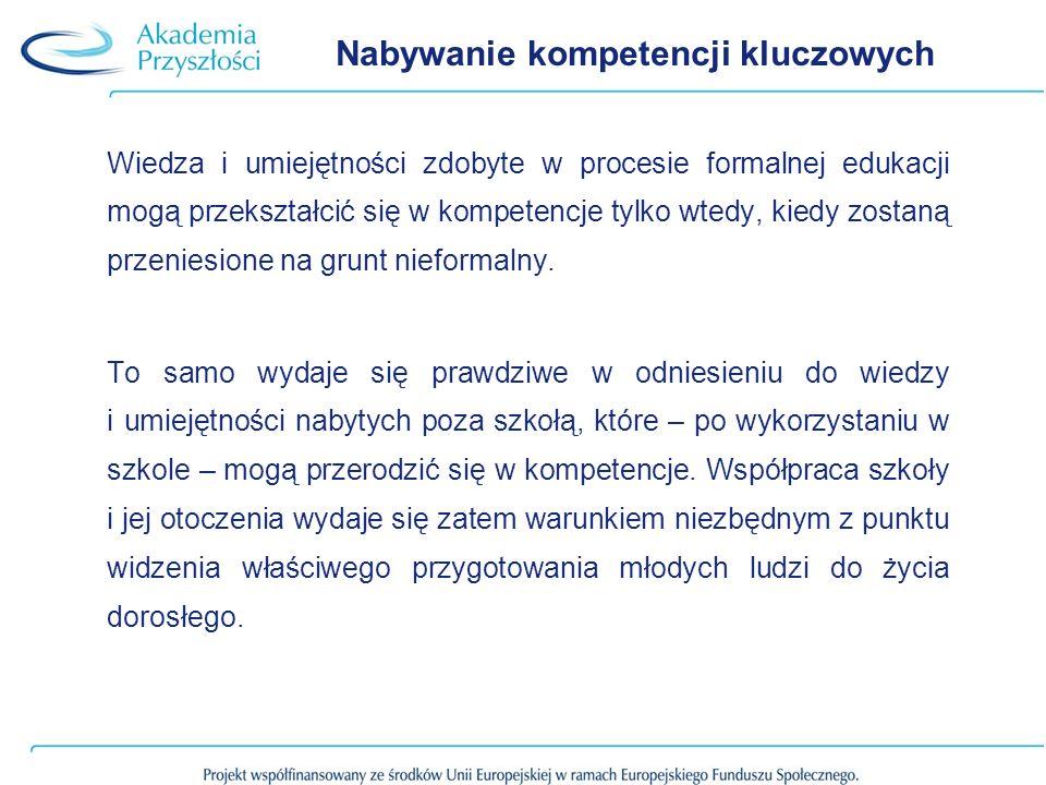 Nabywanie kompetencji kluczowych Wiedza i umiejętności zdobyte w procesie formalnej edukacji mogą przekształcić się w kompetencje tylko wtedy, kiedy zostaną przeniesione na grunt nieformalny.