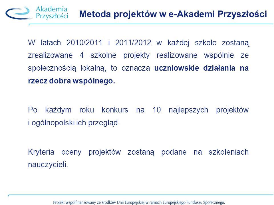 Metoda projektów w e-Akademi Przyszłości W latach 2010/2011 i 2011/2012 w każdej szkole zostaną zrealizowane 4 szkolne projekty realizowane wspólnie ze społecznością lokalną, to oznacza uczniowskie działania na rzecz dobra wspólnego.