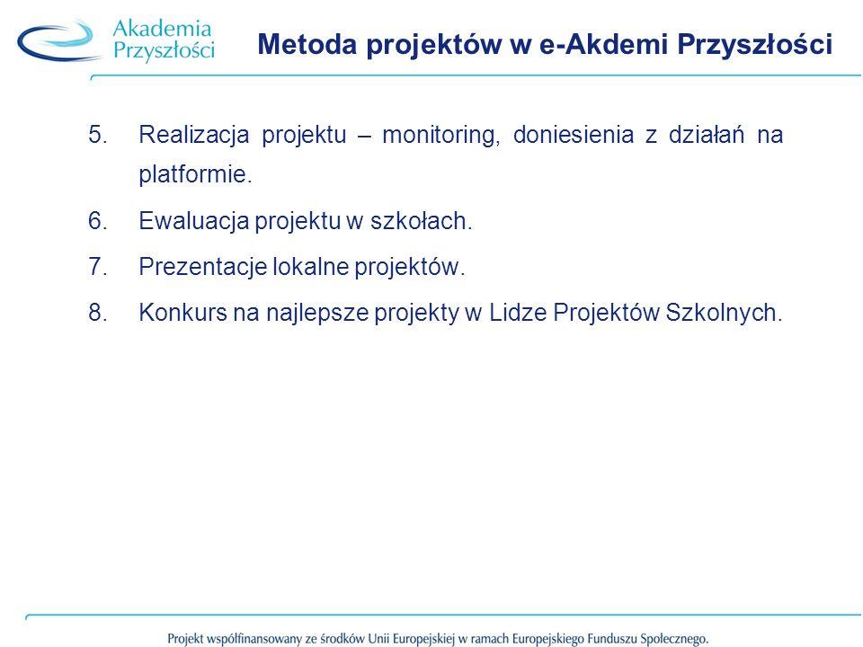 Metoda projektów w e-Akdemi Przyszłości 5.Realizacja projektu – monitoring, doniesienia z działań na platformie.
