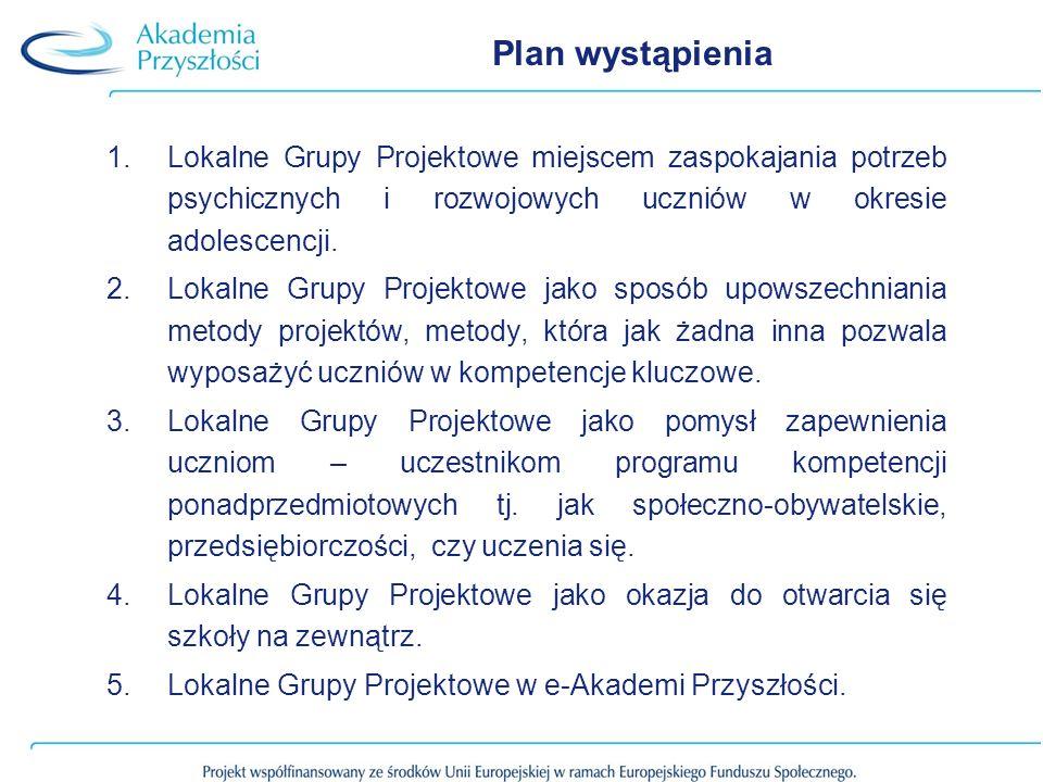 Plan wystąpienia 1.Lokalne Grupy Projektowe miejscem zaspokajania potrzeb psychicznych i rozwojowych uczniów w okresie adolescencji.