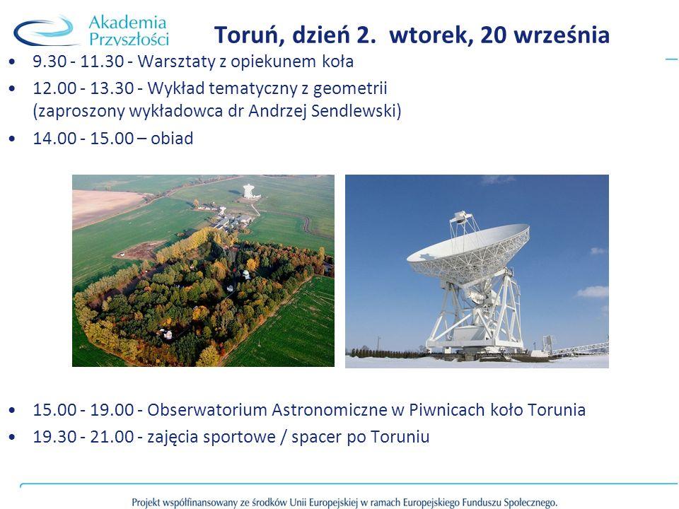 9.30 - 11.30 - Warsztaty z opiekunem koła 12.00 - 13.30 - Wykład tematyczny z geometrii (zaproszony wykładowca dr Andrzej Sendlewski) 14.00 - 15.00 –