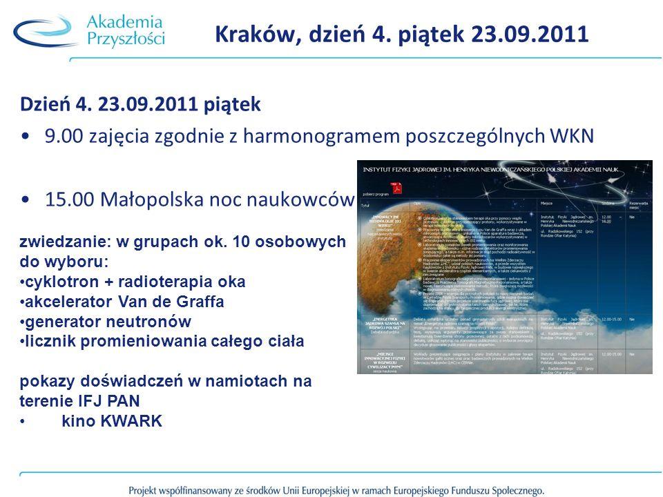 Kraków, dzień 4. piątek 23.09.2011 Dzień 4. 23.09.2011 piątek 9.00 zajęcia zgodnie z harmonogramem poszczególnych WKN 15.00 Małopolska noc naukowców z
