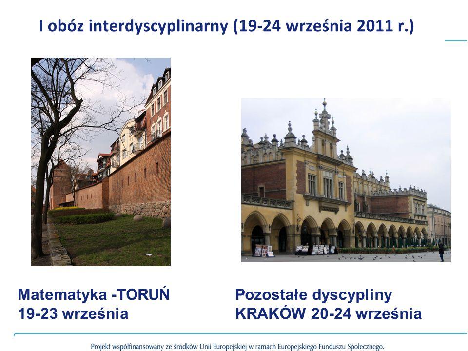 I obóz interdyscyplinarny (19-24 września 2011 r.) Matematyka -TORUŃ 19-23 września Pozostałe dyscypliny KRAKÓW 20-24 września