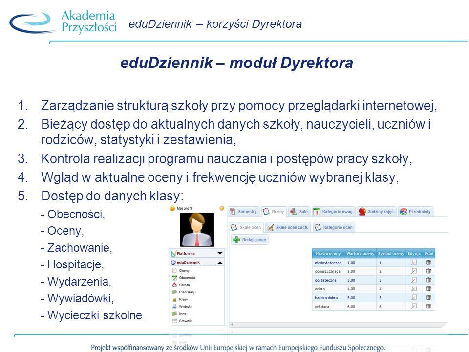 eduDziennik – korzyści Dyrektora eduDziennik – moduł Dyrektora 1.Zarządzanie strukturą szkoły przy pomocy przeglądarki internetowej, 2.Bieżący dostęp do aktualnych danych szkoły, nauczycieli, uczniów i rodziców, statystyki i zestawienia, 3.Kontrola realizacji programu nauczania i postępów pracy szkoły, 4.Wgląd w aktualne oceny i frekwencję uczniów wybranej klasy, 5.Dostęp do danych klasy: - Obecności, - Oceny, - Zachowanie, - Hospitacje, - Wydarzenia, - Wywiadówki, - Wycieczki szkolne