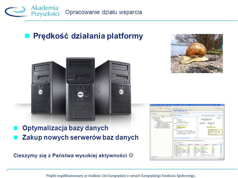Opracowanie działu wsparcia Prędkość działania platformy Optymalizacja bazy danych Zakup nowych serwerów baz danych Cieszymy się z Państwa wysokiej aktywności