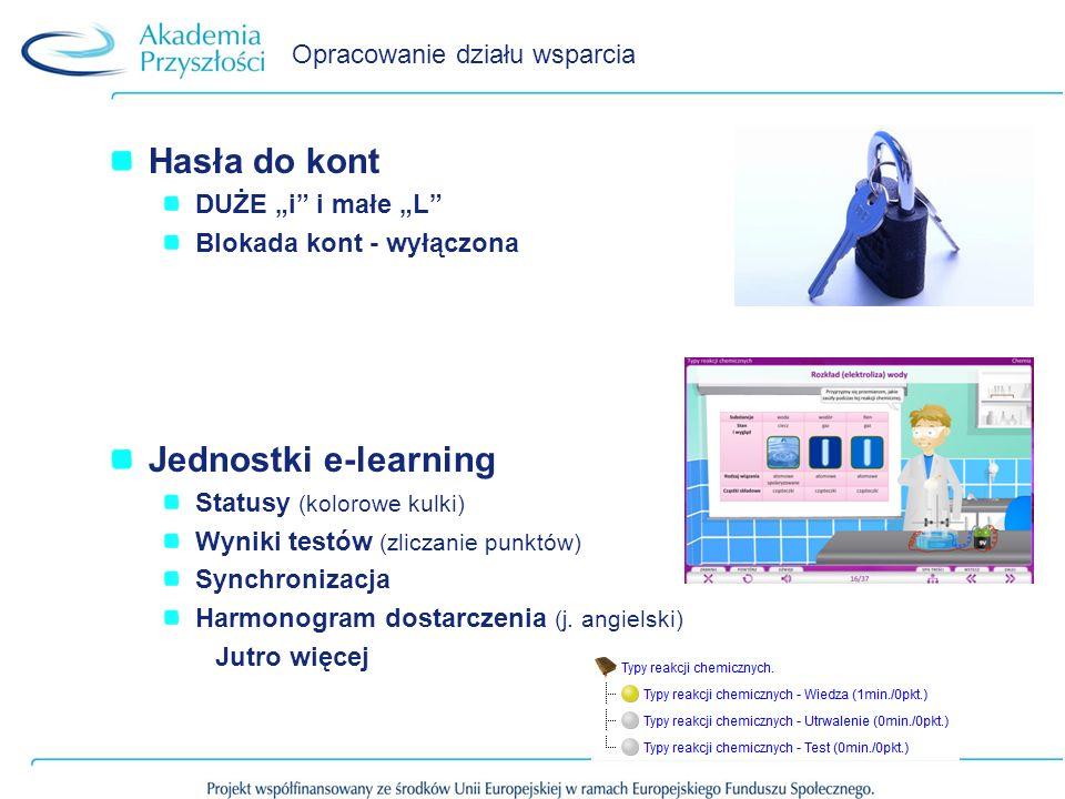 Opracowanie działu wsparcia Hasła do kont DUŻE i i małe L Blokada kont - wyłączona Jednostki e-learning Statusy (kolorowe kulki) Wyniki testów (zliczanie punktów) Synchronizacja Harmonogram dostarczenia (j.