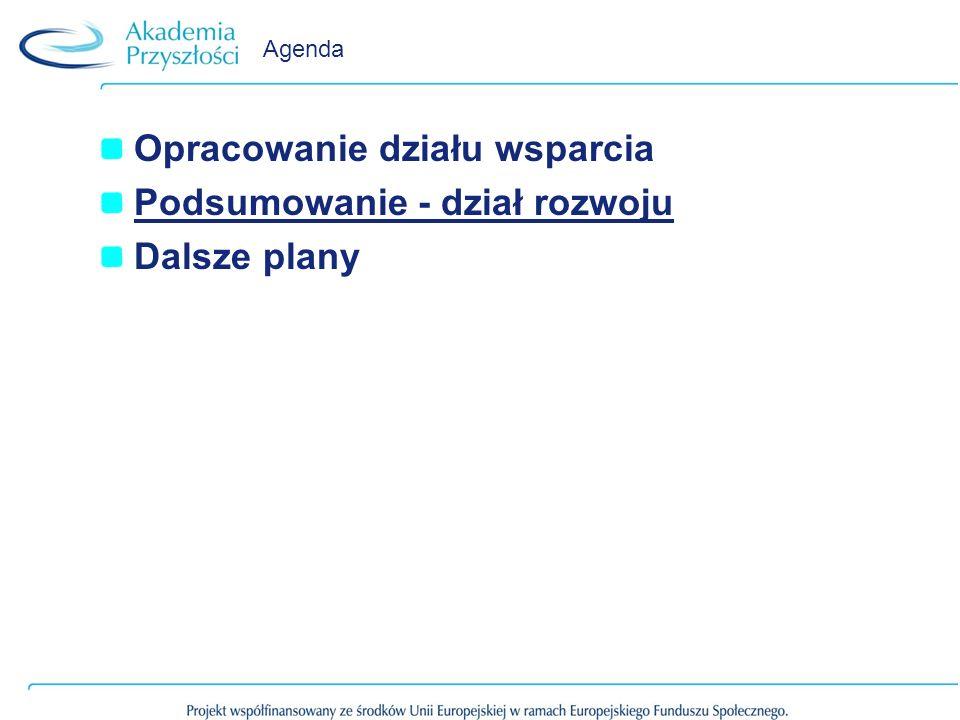 Agenda Opracowanie działu wsparcia Podsumowanie - dział rozwoju Dalsze plany