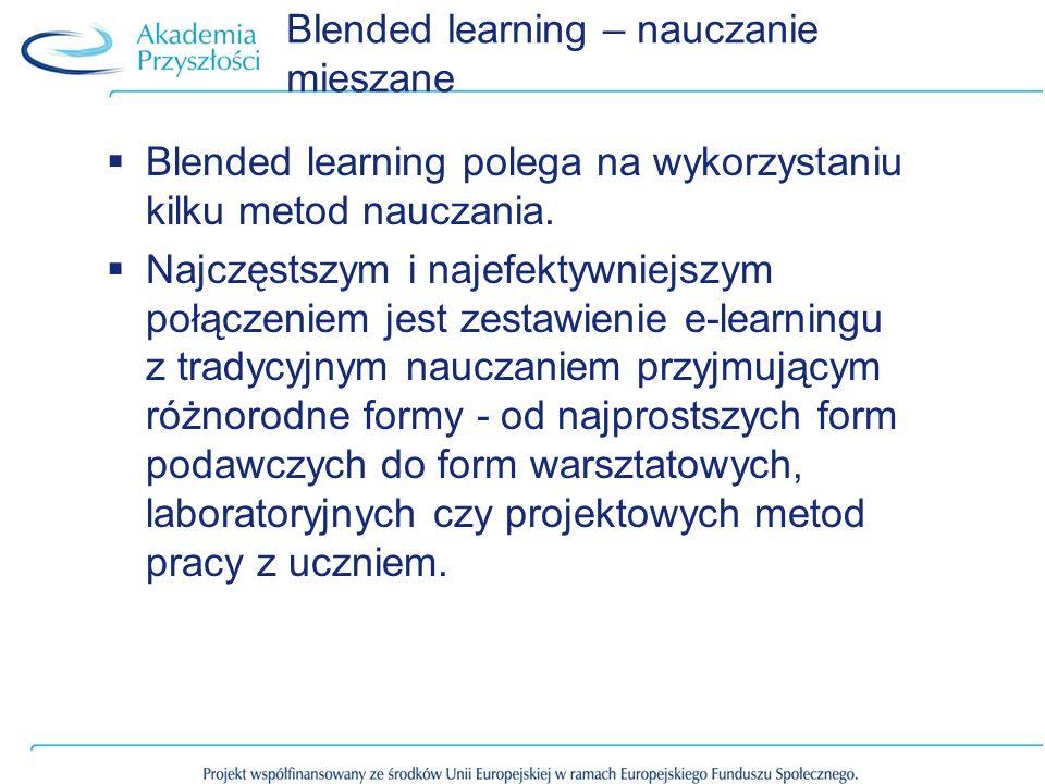 Blended learning polega na wykorzystaniu kilku metod nauczania. Najczęstszym i najefektywniejszym połączeniem jest zestawienie e-learningu z tradycyjn