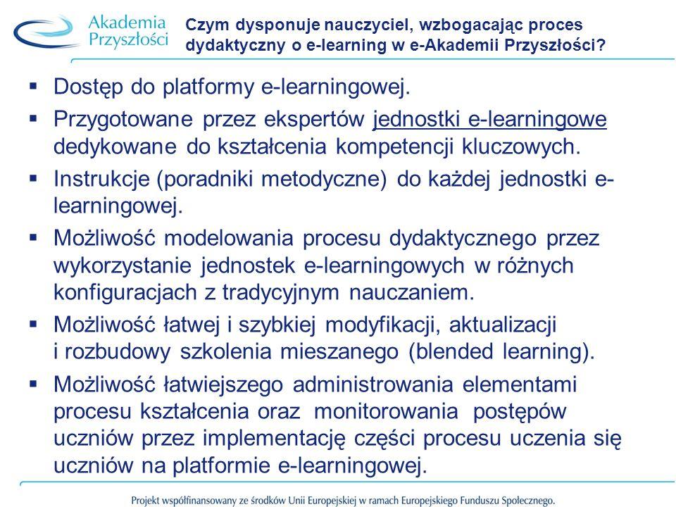 Czym dysponuje nauczyciel, wzbogacając proces dydaktyczny o e-learning w e-Akademii Przyszłości? Dostęp do platformy e-learningowej. Przygotowane prze