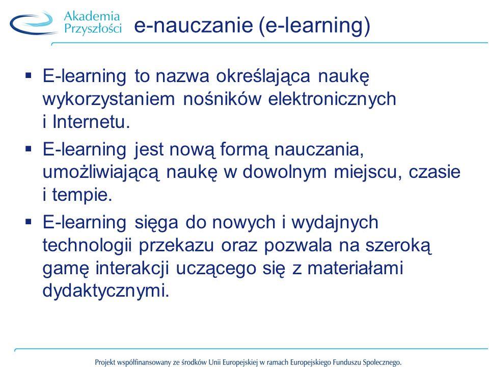 e-nauczanie (e-learning) E-learning to nazwa określająca naukę wykorzystaniem nośników elektronicznych i Internetu. E-learning jest nową formą nauczan