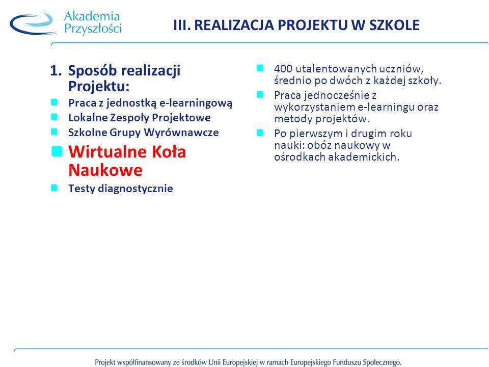 III. REALIZACJA PROJEKTU W SZKOLE 1.Sposób realizacji Projektu: Praca z jednostką e-learningową Lokalne Zespoły Projektowe Szkolne Grupy Wyrównawcze W