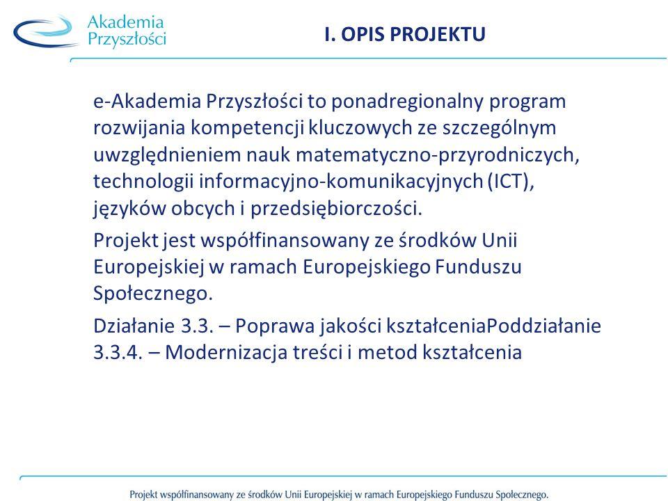 I. OPIS PROJEKTU e-Akademia Przyszłości to ponadregionalny program rozwijania kompetencji kluczowych ze szczególnym uwzględnieniem nauk matematyczno-p