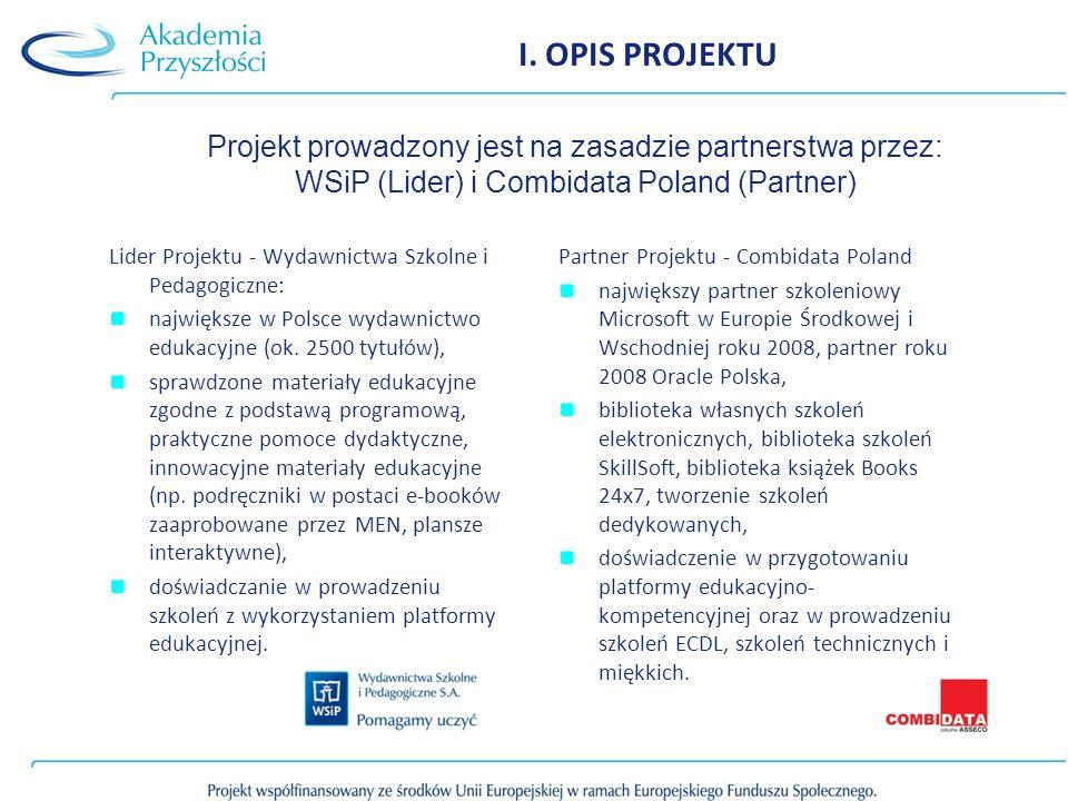 I. OPIS PROJEKTU Lider Projektu - Wydawnictwa Szkolne i Pedagogiczne: największe w Polsce wydawnictwo edukacyjne (ok. 2500 tytułów), sprawdzone materi