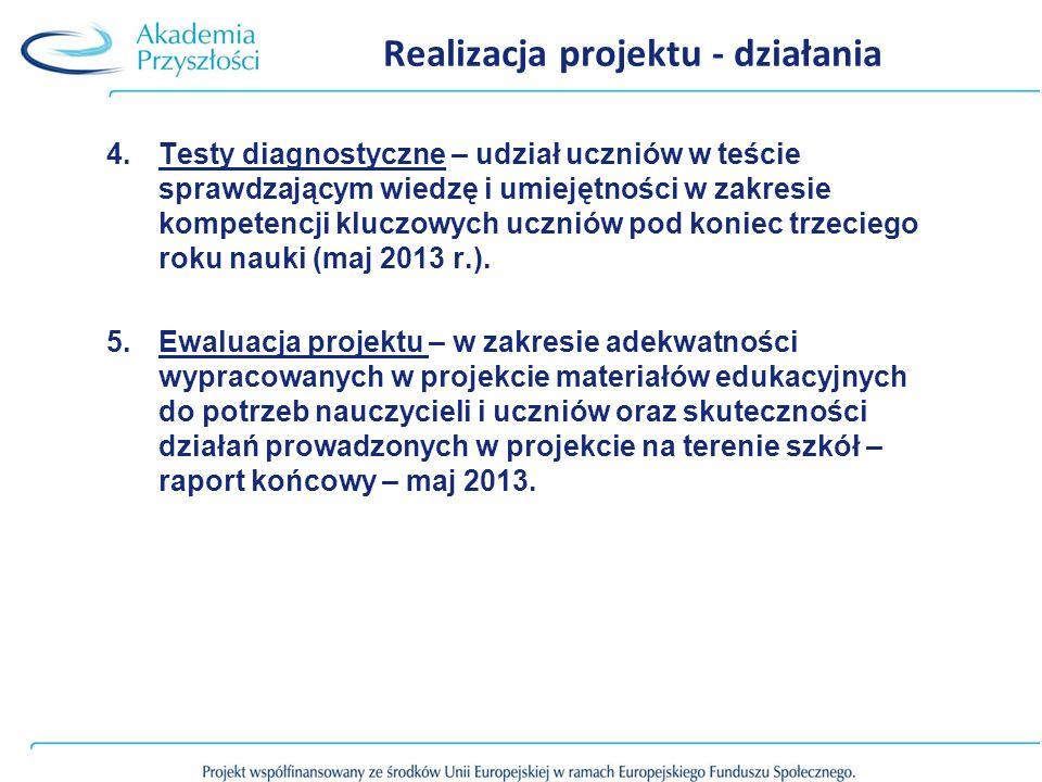 Realizacja projektu - działania 4.Testy diagnostyczne – udział uczniów w teście sprawdzającym wiedzę i umiejętności w zakresie kompetencji kluczowych uczniów pod koniec trzeciego roku nauki (maj 2013 r.).