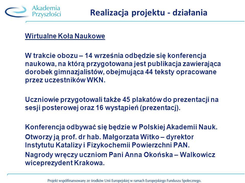 Realizacja projektu - działania Wirtualne Koła Naukowe W trakcie obozu – 14 września odbędzie się konferencja naukowa, na którą przygotowana jest publikacja zawierająca dorobek gimnazjalistów, obejmująca 44 teksty opracowane przez uczestników WKN.