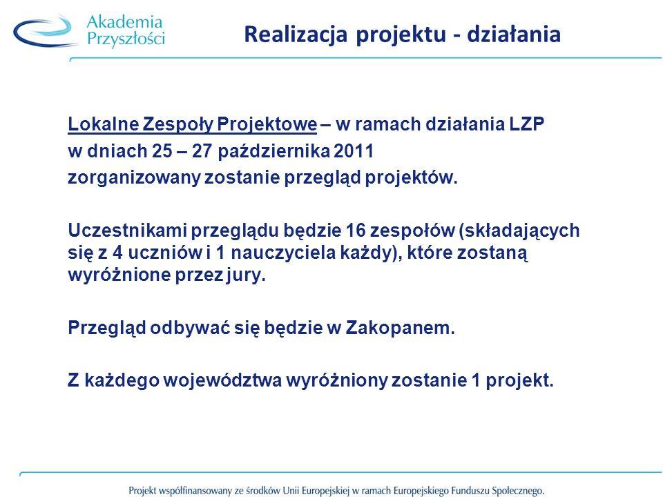 Realizacja projektu - działania Lokalne Zespoły Projektowe – w ramach działania LZP w dniach 25 – 27 października 2011 zorganizowany zostanie przegląd projektów.