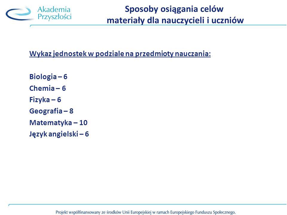 Sposoby osiągania celów materiały dla nauczycieli i uczniów Wykaz jednostek w podziale na przedmioty nauczania: Biologia – 6 Chemia – 6 Fizyka – 6 Geografia – 8 Matematyka – 10 Język angielski – 6